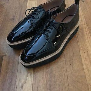 Zara Black Patent Platform Derby Wedge Loafers